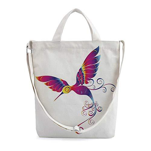 Hummingbirds Decor Simple Zippered Canvas Bag,Colorful Feather Hummingbird Curv