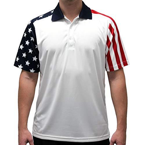 (Men's Stars & Stripes Polo T-Shirt (XLarge, White))