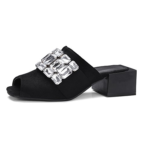 MEOTINA Women Shoes Summer Block Heels Sandals Crystal Open Toe Slippers (US9.5=CN41=Foot Length 25.5cm, Black)