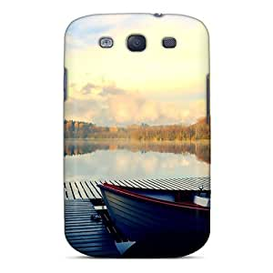 S3 Scratch-proof Protection Case Cover For Galaxy/ Hot Waiting Boat At Autumn Lake Phone Case