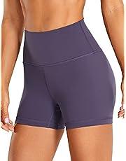 CRZ YOGA Women's Brushed Naked Feeling Workout Shorts 4'' / 6'' - High Waist Matte Biker Shorts Athletic Tight Shorts
