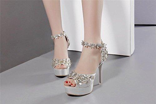 YEEY Las mujeres de verano de aguja abierta dedo del pie sandalias de tacón alto correa de tobillo flores pub Club banquetes compras Silver