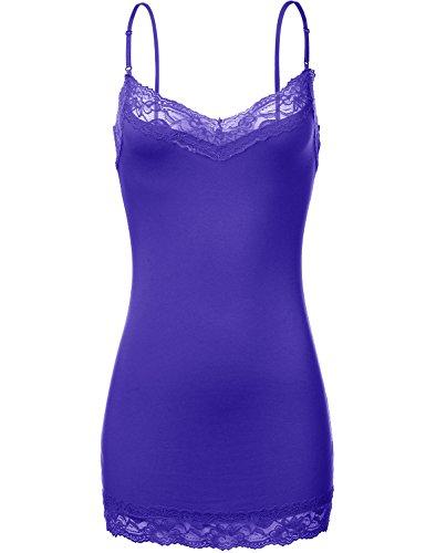 Plus Basic Adjustable Spaghetti Strap Lace Trim Layer Cami Tunic Tank (Womens Beaded Ruffle Shirt)