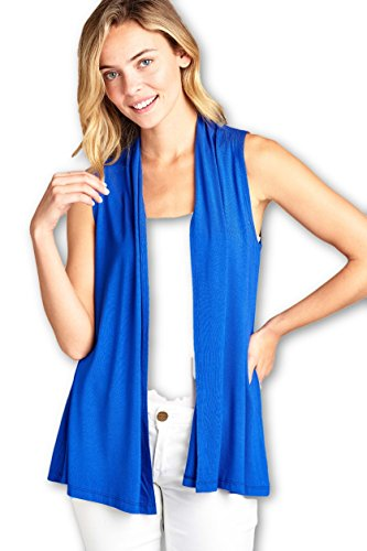 (ReneeC. Women's Extra Soft Natural Bamboo Sleeveless Cardigan - Made in USA (3X-Large, Royal)