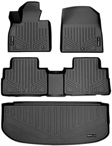 SMARTLINER Custom Fit Floor Mats 2 Rows & Cargo Liner Behind 3rd Row Set Black for 2020-2021 Hyundai Palisade