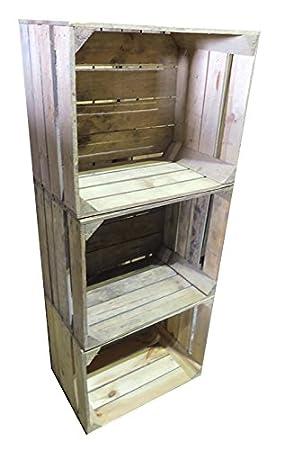 ca637e9f168 Set of 3 Rustic Vintage Apple Crates  Amazon.co.uk  Kitchen   Home