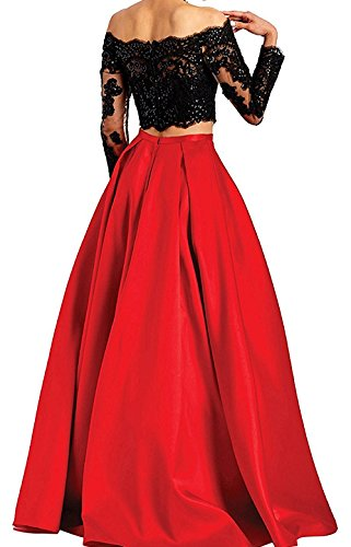 Gown Shoulder The BessDress Long Dresses Two Green BD414 Prom Ball Off Evening Sleeves Piece w1HZn6qP