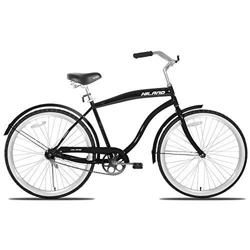 Hiland Beach Crusier Bike for Men Women,Urban Commuter Bike with Wide Seat, Coast Brake-Single Speed, Black&Pink&Blue