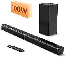 Bomaker サウンドバー 2.1CH サブウーファー付き 超薄型DSP 重低音 3Dサラウンドサウンド 5つEQホームシアターシステム 高音質 大音量 テレビ スピーカー Bluetooth 5.0/110dB/100W...