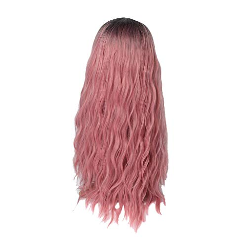 Tigivemen Women's Fashion Wig,Pink Synthetic Hair, Long Wigs, Wave Curly Wig for Women,Suitable for Party,Cosplay