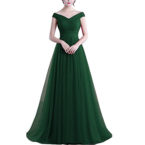Plus Size Off Shoulder Tulle Long Prom Evening Dress Bridesmaid Gown Emerald Green US 24W by Lemai