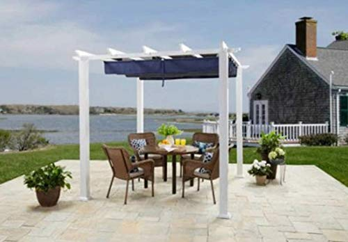 More Sweet Deals Steel and Aluminum Pergola Gazeebo with Adjustable Gliding Canopy 10' x 12' White-Blue