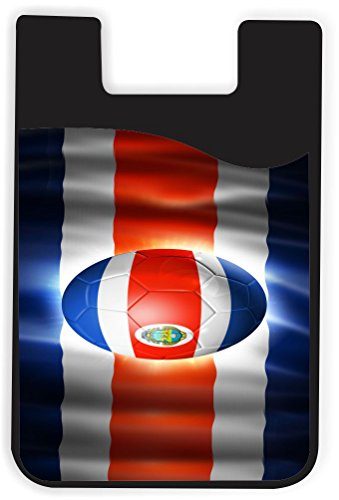 Cards Phone Costa Rica (Rikki Knight Brazil World Cup 2014 Costa Rica Flag Design Silicone Phone Card Holder wallet for iPhone/Galaxy all Android Smartphones - with removable soft microfiber screen cleaner)