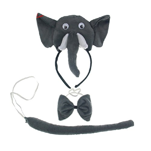 Cute Elephant Headband Bowtie Tail 3pc Costume for Children Halloween or Party]()