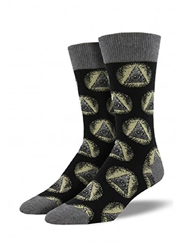 Socksmith Mens Novelty Crew Socks  Illuminati    1 Pair  Black