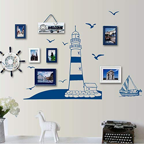lightclub Tower Sailboat Gull Removable Wall Sticker Decal Wallpaper Background Home Decor for Living Room, Bedroom, Hallway - Theme Wallpapers Walls Beach For