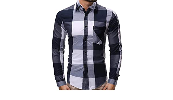Fubotevic Mens Casual Business Plaid Check Long Sleeve Buttons Dress Shirts