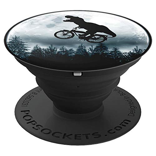 Dinosaur Riding A Bike T-Rex Rush Toward the Moon Cute - PopSockets Grip and Stand for Phones and Tablets