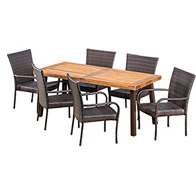 Christopher Knight Home Leopold Outdoor 7-Piece Acacia Wood/Wicker Dining Set | with Teak Finish | in Multibrown, Rustic Metal - The beautiful blend of wood and wicker comes to life with this dining Set, complete with six stacking wicker dining chairs, you can enjoy eating in your backyard whenever you want, The wooden table is treated to withstand even the harshest of seasons, ensuring your Set looks great all year long, The rectangular table ensures that there is enough space for both food and people, meaning no one leaves the table hungry Includes: one (1) table and six (6) chairs Table material: Acacia wood | table leg Material: iron | chair Material: faux wicker | chair frame material: iron | table top finish: teak | table leg Finish: rustic metal | wicker finish: - patio-furniture, dining-sets-patio-funiture, patio - 41nS6%2BOMh9L. SS400  -