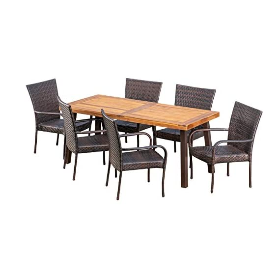 Christopher Knight Home Leopold Outdoor 7-Piece Acacia Wood/Wicker Dining Set | with Teak Finish | in Multibrown, Rustic Metal - The beautiful blend of wood and wicker comes to life with this dining Set, complete with six stacking wicker dining chairs, you can enjoy eating in your backyard whenever you want, The wooden table is treated to withstand even the harshest of seasons, ensuring your Set looks great all year long, The rectangular table ensures that there is enough space for both food and people, meaning no one leaves the table hungry Includes: one (1) table and six (6) chairs Table material: Acacia wood | table leg Material: iron | chair Material: faux wicker | chair frame material: iron | table top finish: teak | table leg Finish: rustic metal | wicker finish: - patio-furniture, dining-sets-patio-funiture, patio - 41nS6%2BOMh9L. SS570  -