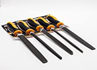 Finder 5PC 8'' Wood Rasp Hand File Set with Rubber Grip + Plastic Handles - Includes Hand Cut Round, Half-round, and Flat Rasp File Kit - Curved and Flat Tools Give Variety of Woodworking Options