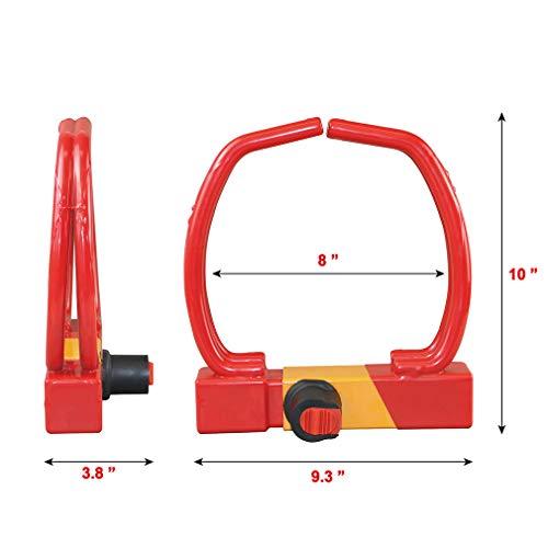 Red Universal Heavy Duty Security Anti-Theft Wheel Clamp Max 12'' Lock w/2 Keys by OKLEAD (Image #2)