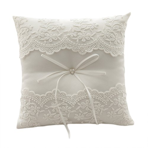 Satin Flower Wedding Ring Bearer Pillow 7.8 Inch x 7.8 Inch (Lace) (Basket Needlepoint)