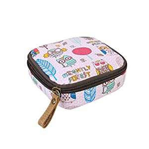 LALANG Zipper Style Waterproof Sanitary Napkins Holder Bag with pink Owl Printed