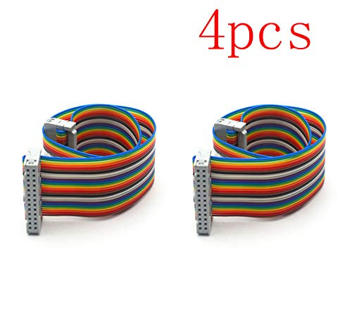 Antrader 30cm IDC Connector 26 Pin 26 Way Flat Rainbow Ribbon Cable Female to Female 2.54mm Pitch for Arduino Pack of 4 ()