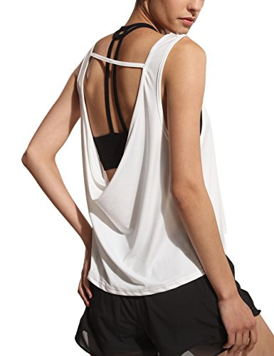 ChinFun Women's Yoga Sleeveless Shirts Soft Knit-in Cowl Back Tank Top White Size L