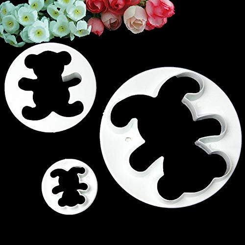 (1 piece 3Pcs New Teddy Bear Plunger Cookie Cake Fondant Biscuit Cutter Tools Decorating DIY)