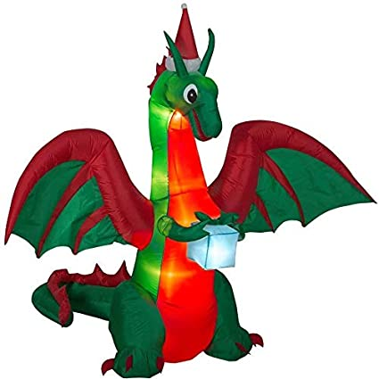 Inflatable Christmas Dragon.8 Foot Airblown Inflatable Christmas Dragon With Present Outdoor Yard Lawn Decoration Seasonal Display