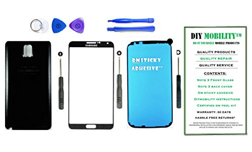 Samsung Galaxy Note 3 Glass Screen Black Replacement Kit with DM Tools, DM Sticky Adhesive, and Instructions Included N900, N9000, N9005, N900V N900p N900A N900T - DIYMOBILITY