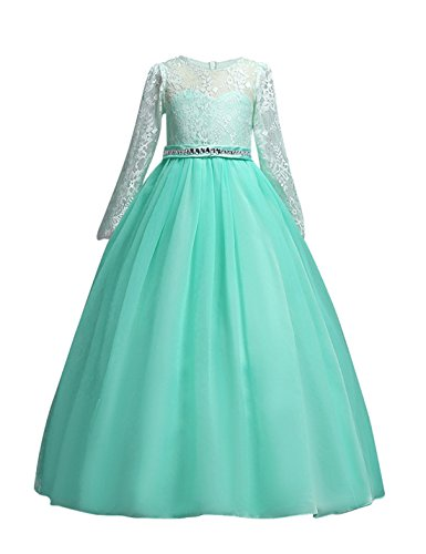 DOCHEER Fancy Girls Dress Tulle Lace Wedding Bridesmaid Ball Gown Floor Length Dresses (1023 Green, 7-8 -