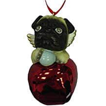 StealStreet SS-D-BL016-A Cute Christmas Holiday Pug Dog Ornament Bell Figurine, Red