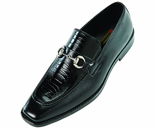 Bolano Mens Black Exotic Slip On with Ostrich Leg Printed Vamp and Smooth on Sides: Style Cass Black-000