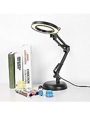 vergrootglas LED-glas voor schoonheid Cosmetische tatoeage Manicure Nauwgezet proces, 5x Vergrootglas Verlicht Bureau Vergrootglas Lamp met voet en verstelbare inklapbare arm, Ogen Beschermend bureau