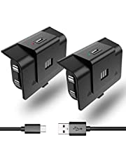2 Pack Rechargeable Controller Battery Pack Compatible with Xbox One/Xbox Series X|S with 4 Battery Door Play & Charge Kit with Micro USB Charging Cable