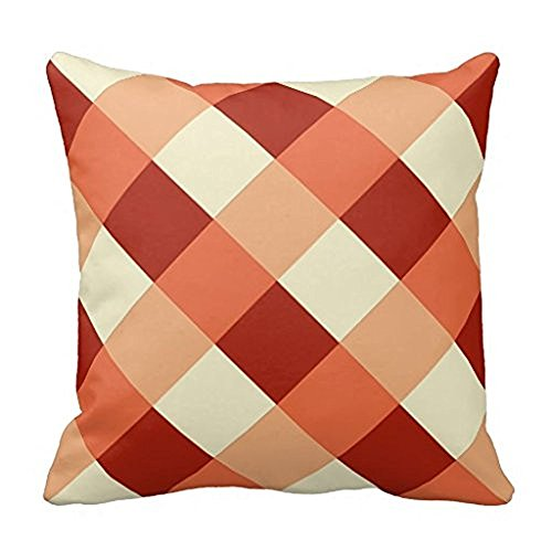 WENSING Large Modern Plaid Rust Terracotta And Cream Throw Pillow Case 18x18Inch Rust Cream