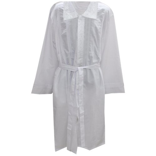 Jewish Wedding Canopy - White Kittel Robe with Fancy Lace New Striped Design (Large)