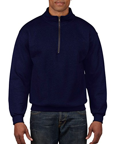 Gildan Men's Fleece Quarter-Zip Cadet Collar Sweatshirt, Navy, X-Large