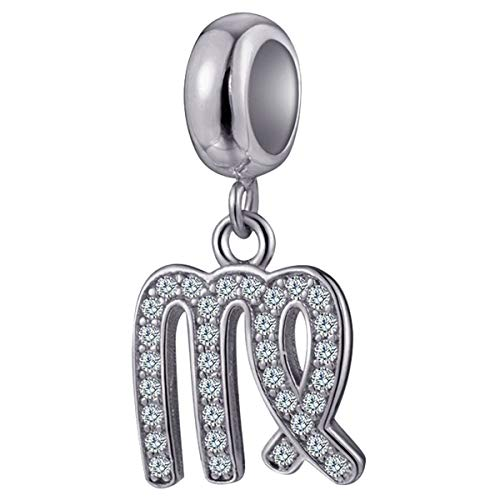 Virgo Zodiac Sign Charms for Pandora Charm Bracelets - 925 Sterling Silver Necklace Pendants, 12 Constellation/Horoscope Star Dangle - Dangling Birthstone Beads, Birthday Gifts Women/Men/Girls/Boys.