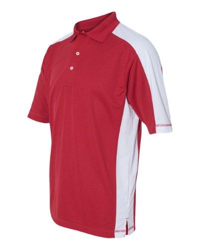 v Men's 0465 Colorblocked Moisture Free Mesh Short Sleeve Sport Polo Shirt (Medium, Red/White)