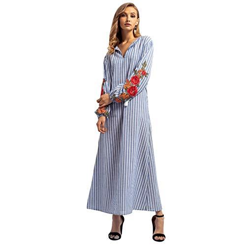 d673a8ea1 TOOGOO Vestido Maxi De Bordado De Rayas Nuevo Otono De Mujer De Mdoa Vestido  Floral Estampado