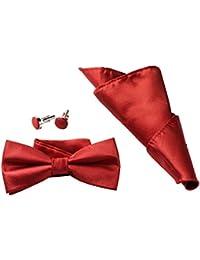 Men's Boys Adjustable Pre-tied Bow Ties Set for Men with Cufflink Square Pocket Handkerchief by GradeCode(3 colors)