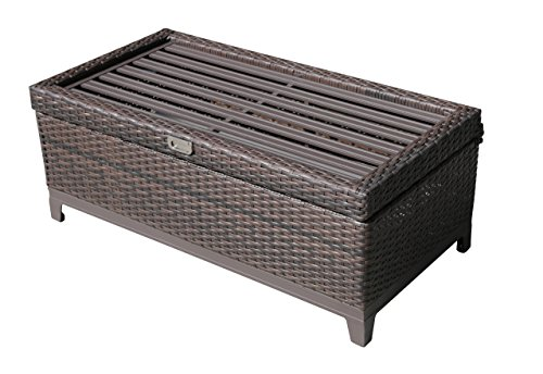 PATIOROMA Outdoor Aluminum Frame Patio Wicker Cushion Storage Ottoman Bench with Seat Cushion, Espresso Brown by PATIOROMA (Image #3)
