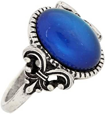 Mojo Gothic Flower Pattern Antique Sterling Silver Plating Oval Stone Color Change Mood Ring MJ-RS008