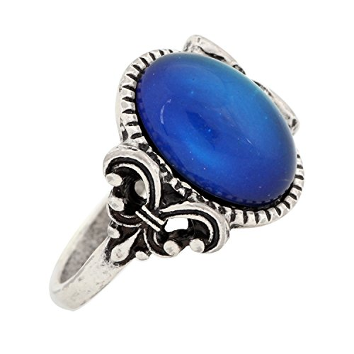 Mojo Gothic Flower Pattern Antique Sterling Silver Plating Oval Stone Color Change Mood Ring MJ-RS008 (9)