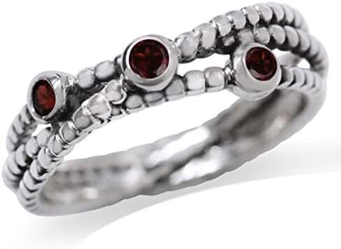 3-Stone Natural Garnet 925 Sterling Silver Stack/Stackable Ribbon Ring