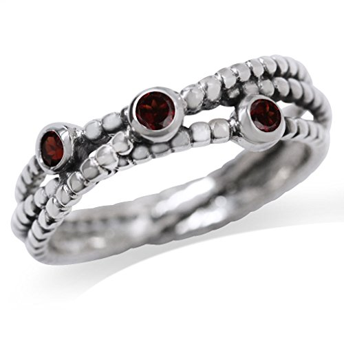 3-Stone Natural Garnet 925 Sterling Silver Stack/Stackable Ribbon Ring Size (Cut Garnet 3 Stone Ring)